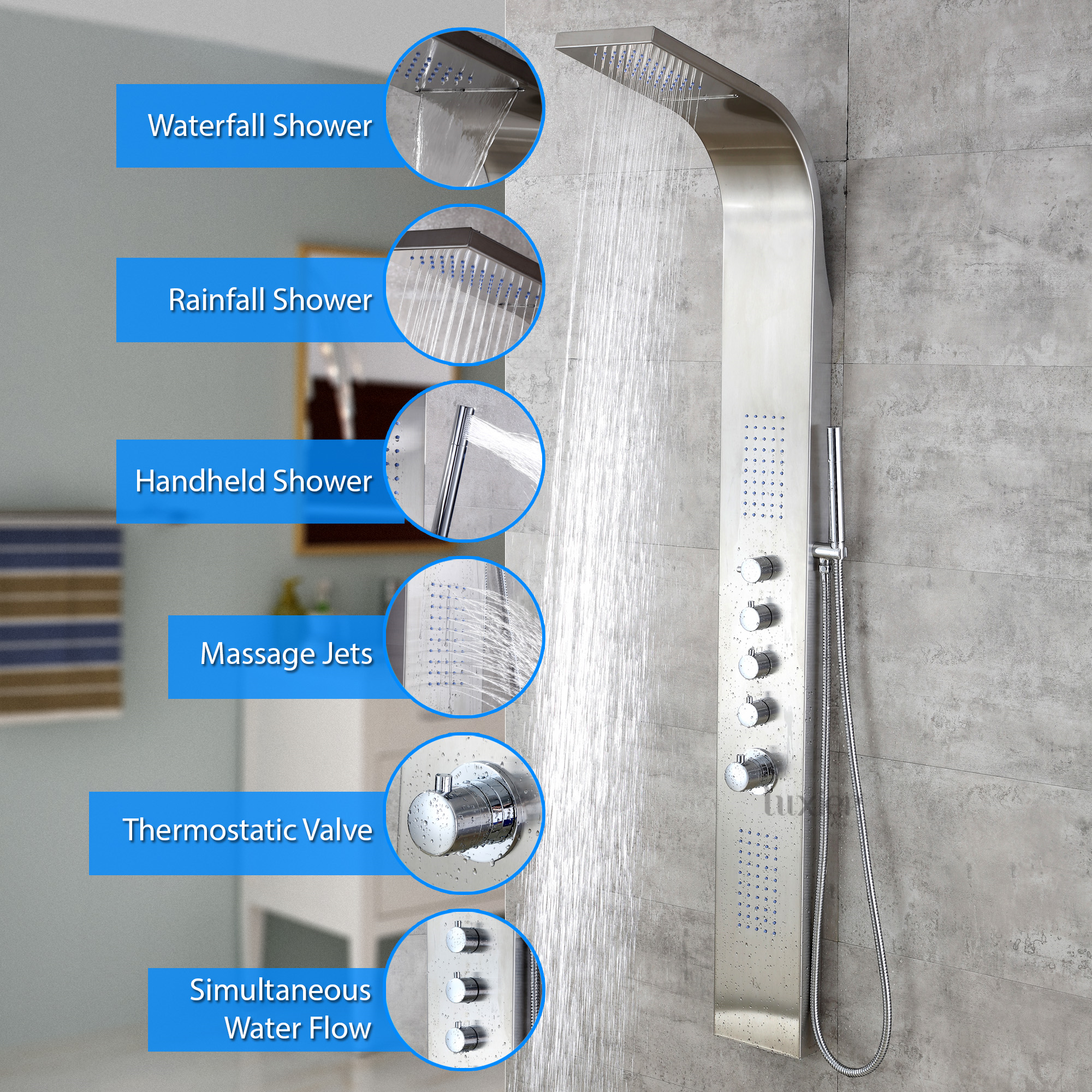 victoriaplum smartap bath white panel product set smart shower wall with complete com round system